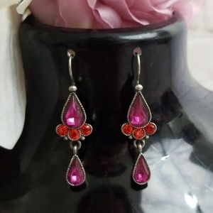Avon Purple Red Crystal Dangle Hook Earrings